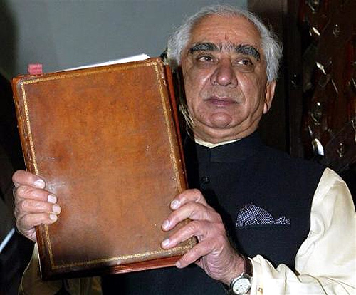 Finance Minister Jaswant Singh holds up the Interim General Budget to be presented to parliament in New Delhi, February 3, 2004.