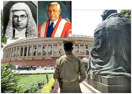 The Indian Parliament. Insets: R K Shanmukham Chetty (left) and John Mathai (left).