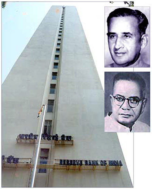 The Reserve Bank of India building in Mumbai. Insets: C D Deshmukh (top) and T T Krishnamchari (bottom).