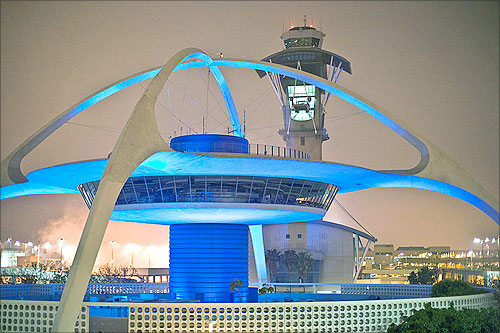 The theme building and control tower at Los Angeles International Airport.