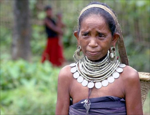 A tribal woman in Gandacherra village, about 190 km (118 miles) southeast of Agartala.