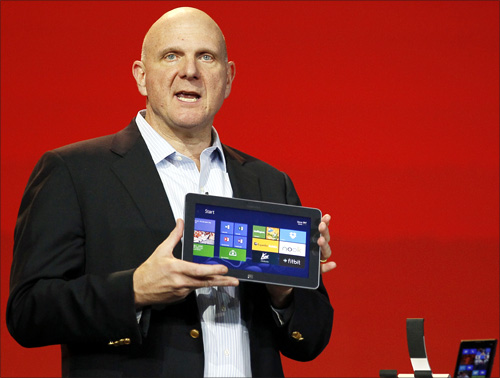 Microsoft CEO Steve Ballmer displays the new Windows Surface tablet at the Qualcomm pre-show keynote at the Consumer Electronics Show (CES) in Las Vegas January.