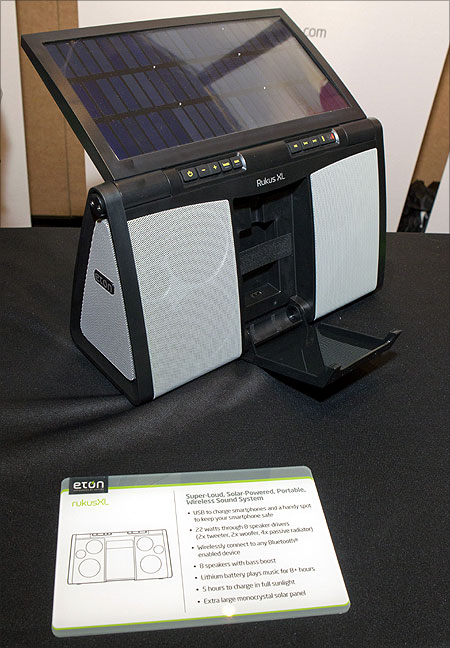 An Eton RukusXL solar powered boom box is displayed at the opening press event of the Consumer Electronics Show (CES) in Las Vegas.