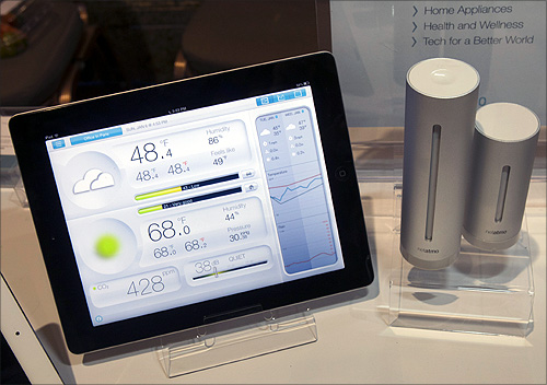 A Netatmo urban weather station is displayed at the opening press event of the Consumer Electronics Show.