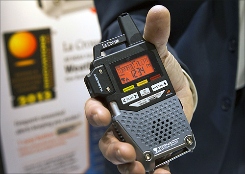 A La Crosse tornado alert radio is displayed at the opening press event of the Consumer Electronics Show (CES) in Las Vegas.