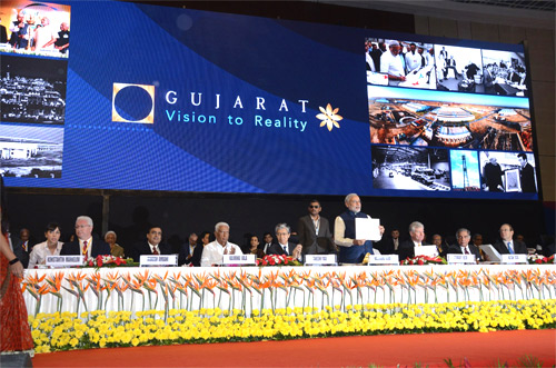 Gujarat Chief Minister Narendra Modi at the Vibrant Gujarat Summit.