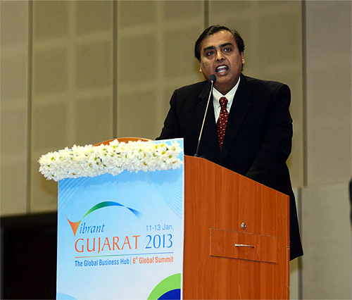 Mukesh Ambani at the Vibrant Gujarat Summit.
