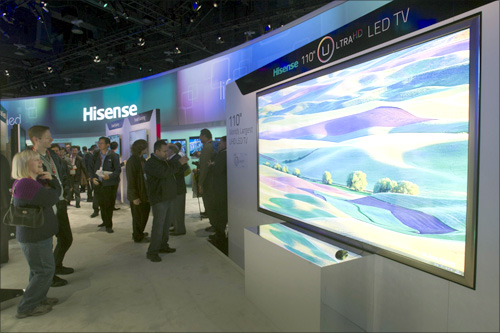 A Hisense 110-inch Ultra HD LED television, the world's largest, is displayed during the first day of the Consumer Electronics Show (CES) in Las Vegas.