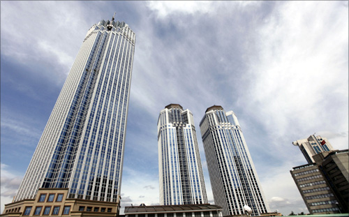 A general view of Levent financial district which comprises leading Turkish company headquarters and popular shopping malls, is seen from a highway in Istanbul.