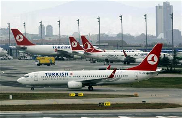A Turkish Airlines plane prepares to take off at Ataturk International Airport in Istanbul.