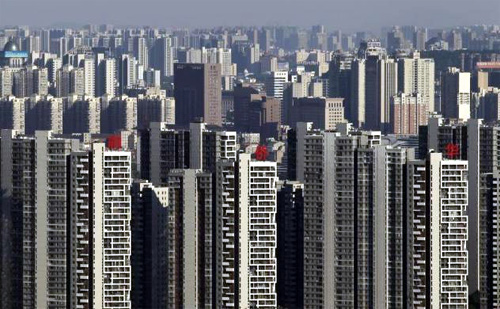 Residential buildings are seen in Wuhan, Hubei province.
