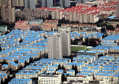 A residential area is seen in Pudong district in Shanghai.