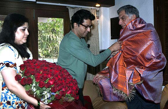 Ratan Tata at Raj Thackeray's house.