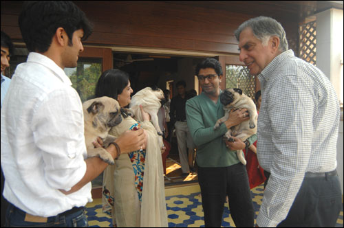 Ratan Tata at Raj Thackeray's residence.