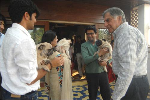Ratan Tata at Raj Thackeray's residence.