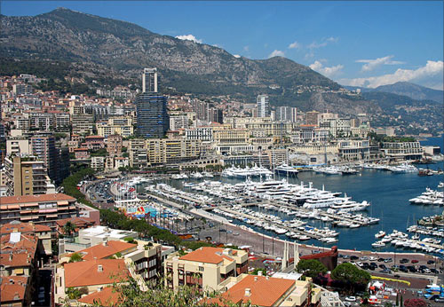 View of Monaco, Harbour and parts of Monte Carlo.