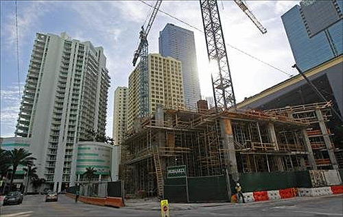 A new condominium building is shown under construction in the Brickell Avenue area in Miami, Florida.