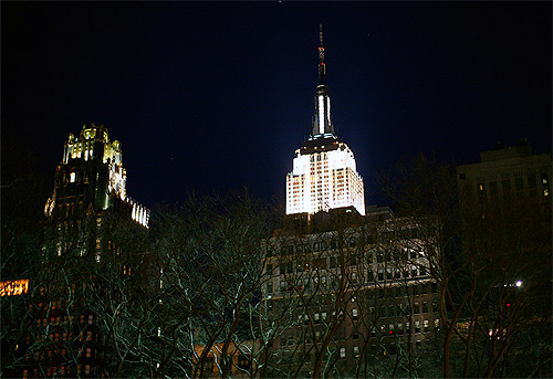 Empire State Building is seen during Earth Hour in New York City.
