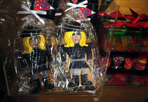Cookies molded after singer Lady Gaga sit inside Gaga's Workshop at luxury department store Barneys in New York.