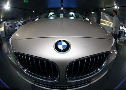 A BMW five series is on display at the headquarters of the German luxury carmaker in Munich.