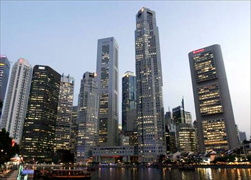 A view of the Central Business District in Singapore.
