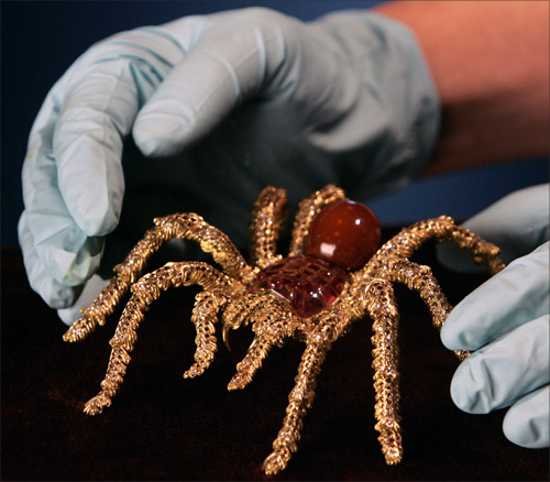 A Tarantula Brooch is positioned for display at a pearl exhibition in Sydney.