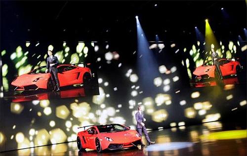 Stephan Winkelmann, CEO of Lamborghini, presents the new Gallardo super sports car during the Volkswagen car group preview show before the international car show 'IAA' in Frankfurt, Germany.
