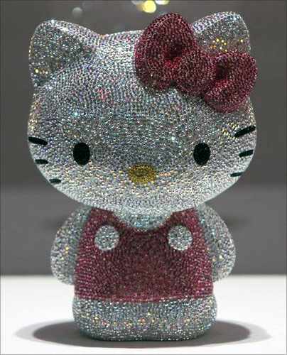 A Hello Kitty figurine, studded with a total of 19,636 Swarovski crystals, is displayed during a press preview of Swarovski's Hello Kitty collection at an event entitled House of Hello Kitty in Tokyo.