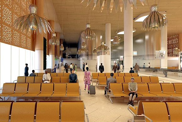 The departure gate lounge has a seating capacity of 10,000.