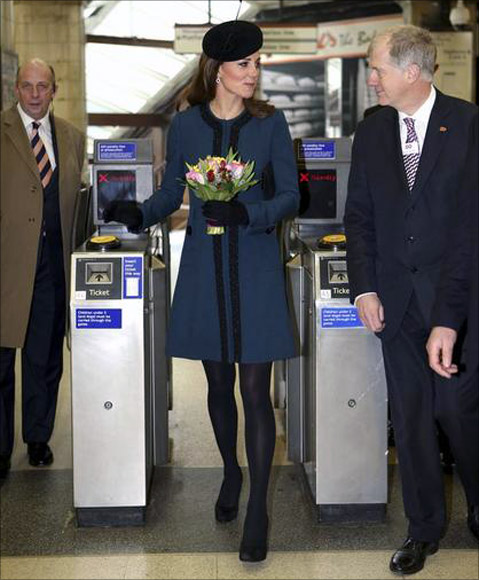 Britain's Catherine, Duchess of Cambridge visits Baker Street underground station in London.