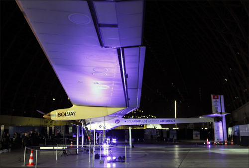 Solar Impulse aircraft is shown inside a hangar at Moffett Field in Mountain View, California.