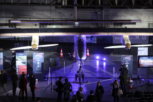 The Solar Impulse aircraft is shown in a hangar at Moffett Field in Mountain View, California.