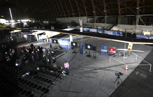 The Solar Impulse aircraft is shown at Moffett Field in Mountain View, California.