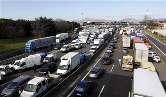 A view of Naples north highway is seen during a truckers' protest against the government's deregulation plans in Naples.