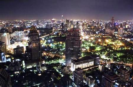 A general view shows the night cityscape of Bangkok.