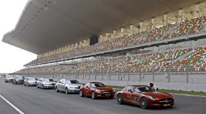 Cars are lined at the Buddh International Circuit, the venue for the first ever Indian Formula One race at Greater Noida, on the outskirts of Delhi.