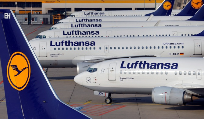 Aircraft of German airline Lufthansa are parked on the apron during a strike at Fraport airport in Frankfurt.