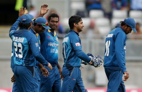 Angelo Mathews celebrates after a fall of a wicket