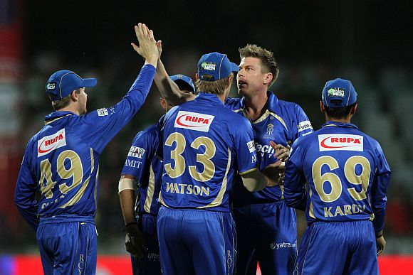 James Faulkner celebrates after dismissing Murali Vijay