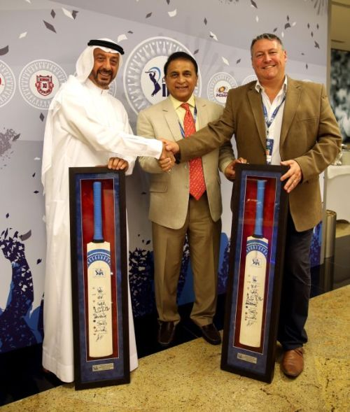 Omar AL Askari, director, Emirates Cricket board; Sunil Gavaskar, BCCI interim president, and David East, CEO Emirates Cricket Board and Abu Dhabi Cricket Club