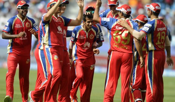 Royal Challengers players celebrate after picking up a wicket