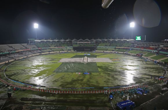 A general view as the field is flooded after heavy rain during the ICC World Twenty20 in Bangladesh