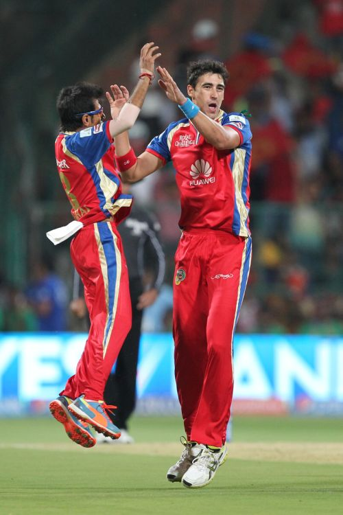Mitchell Starc celebrates after picking a wicket