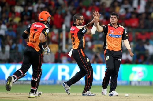 Karn Sharma celebrates after dismissing Yuvraj Singh