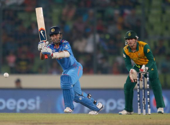 Ajinkya Rahane plays one through the leg side