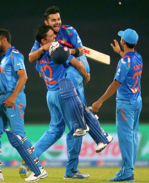 Virat Kohli celebrates after winning the game for India