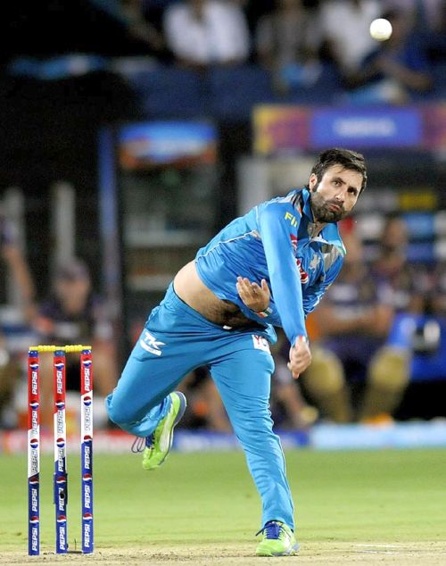 Parvez Rasool in action for India.