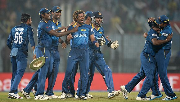 Sri Lankan players celebrates after winning a game