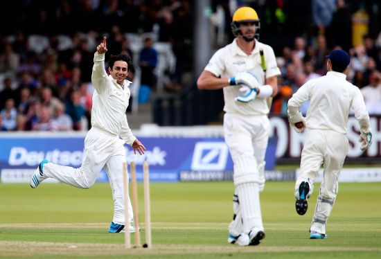 Saeed Ajmal celebrates after dismissing Kevin Pietersen