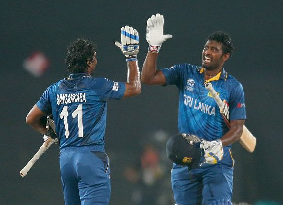 Kumar Sangakkara and Thisara Perera celebrate after winning the game